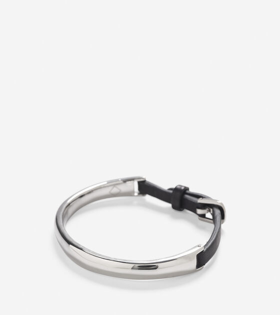 Accessories > Oval IP Bracelet With Leather
