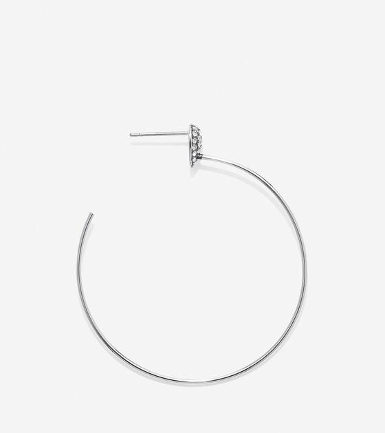 Waters Edge Swarovski Pave Teardrop C Hoop Earrings