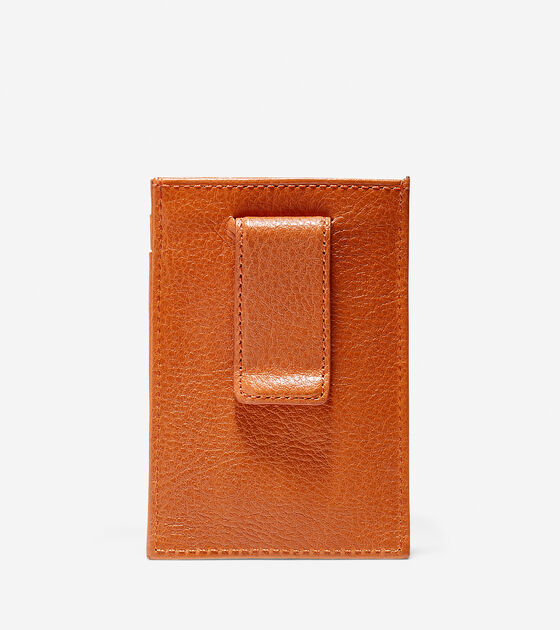Pebbled Leather Card Case With Money Clip