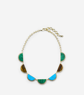 Spring Street Fashion Semi-Precious Half-Moon Frontal Necklace