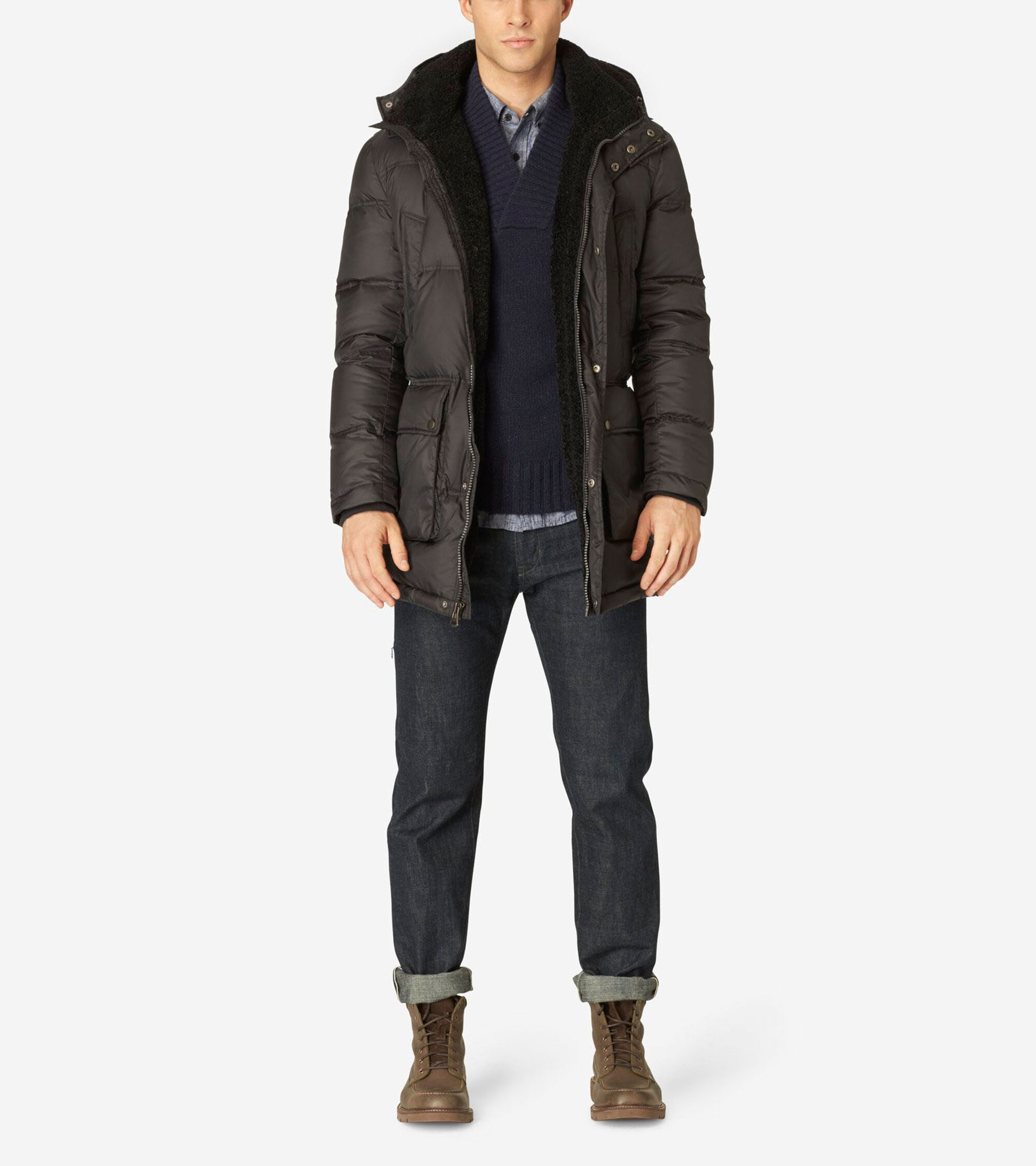 Outerwear > Hood Quilted Down Jacket