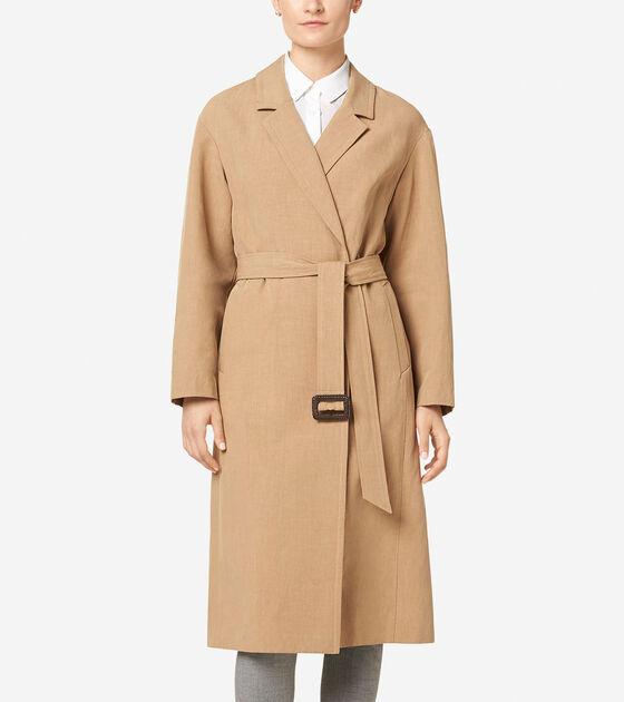 Outerwear > Linen Wrap Maxi Coat