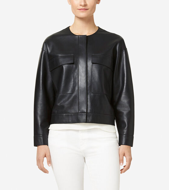 Outerwear > Raw Edge Leather Jacket