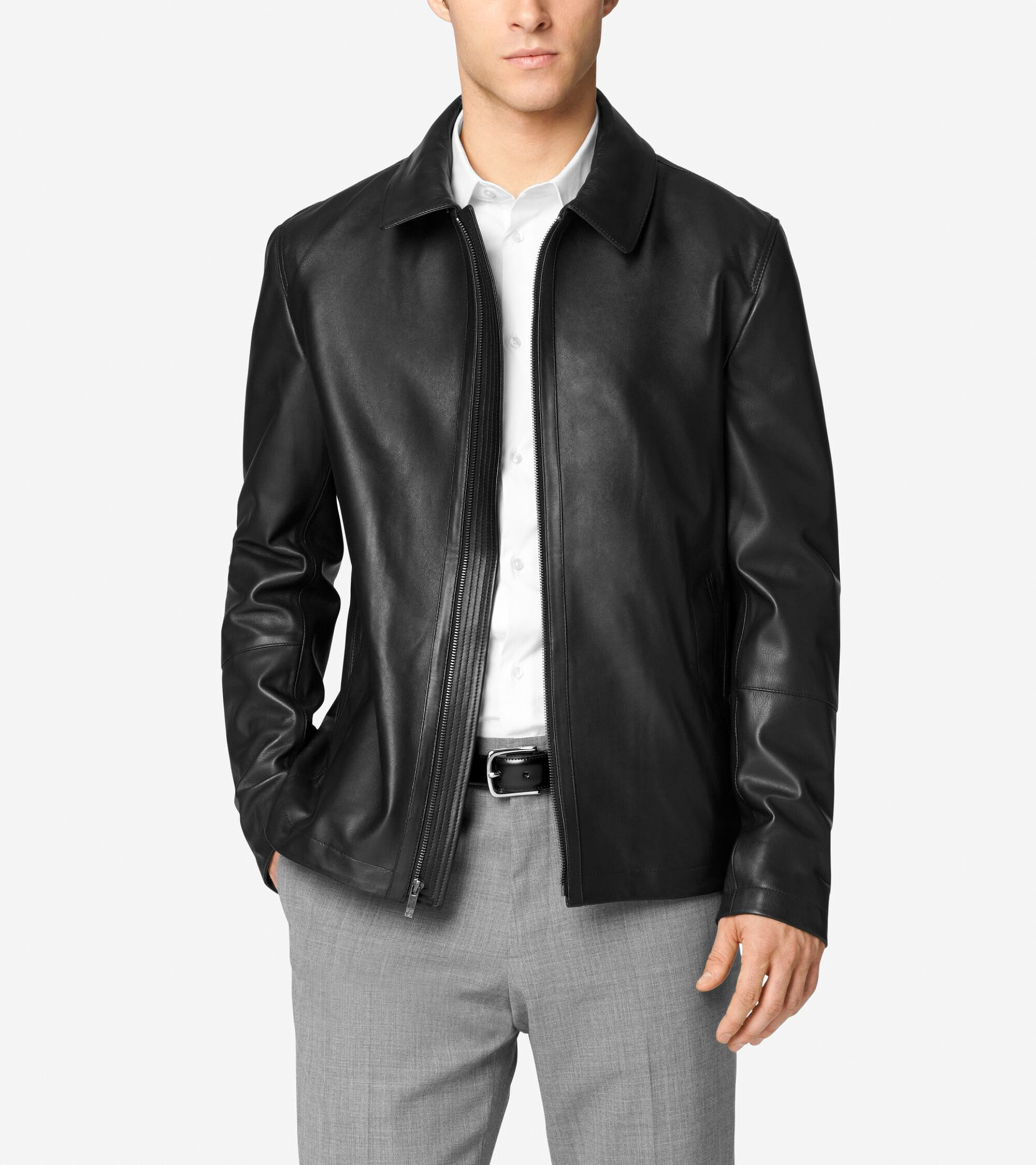 Smooth matte lamb leather shirt collar jacket in black for Leather jacket and shirt