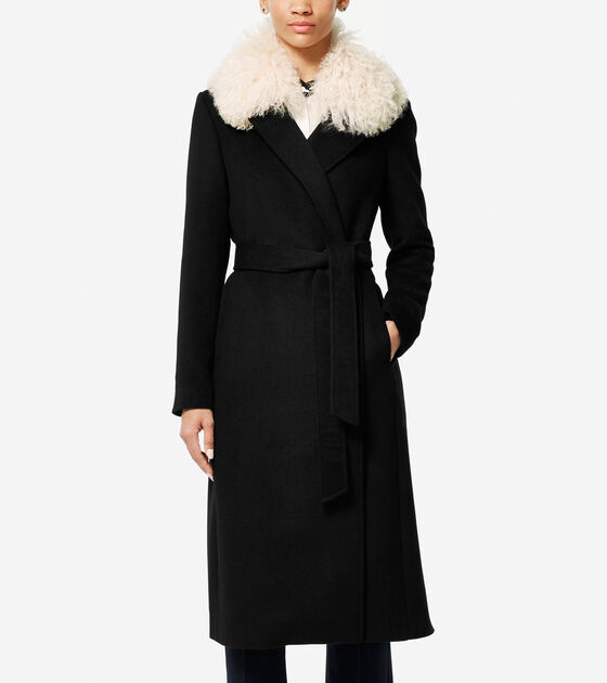 Bags & Outerwear > Collection Shearling Collar Wool Twill Maxi Coat