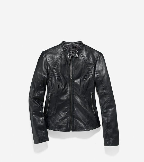 Outerwear > Lamb Single Breasted Racer Jacket