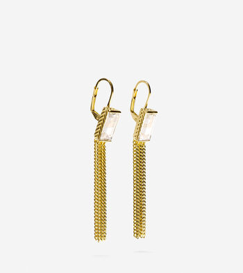 Cubic Zirconia Baguette Drop Tassel Earrings