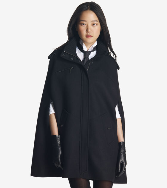 Outerwear > Soft Wool Twill Cape