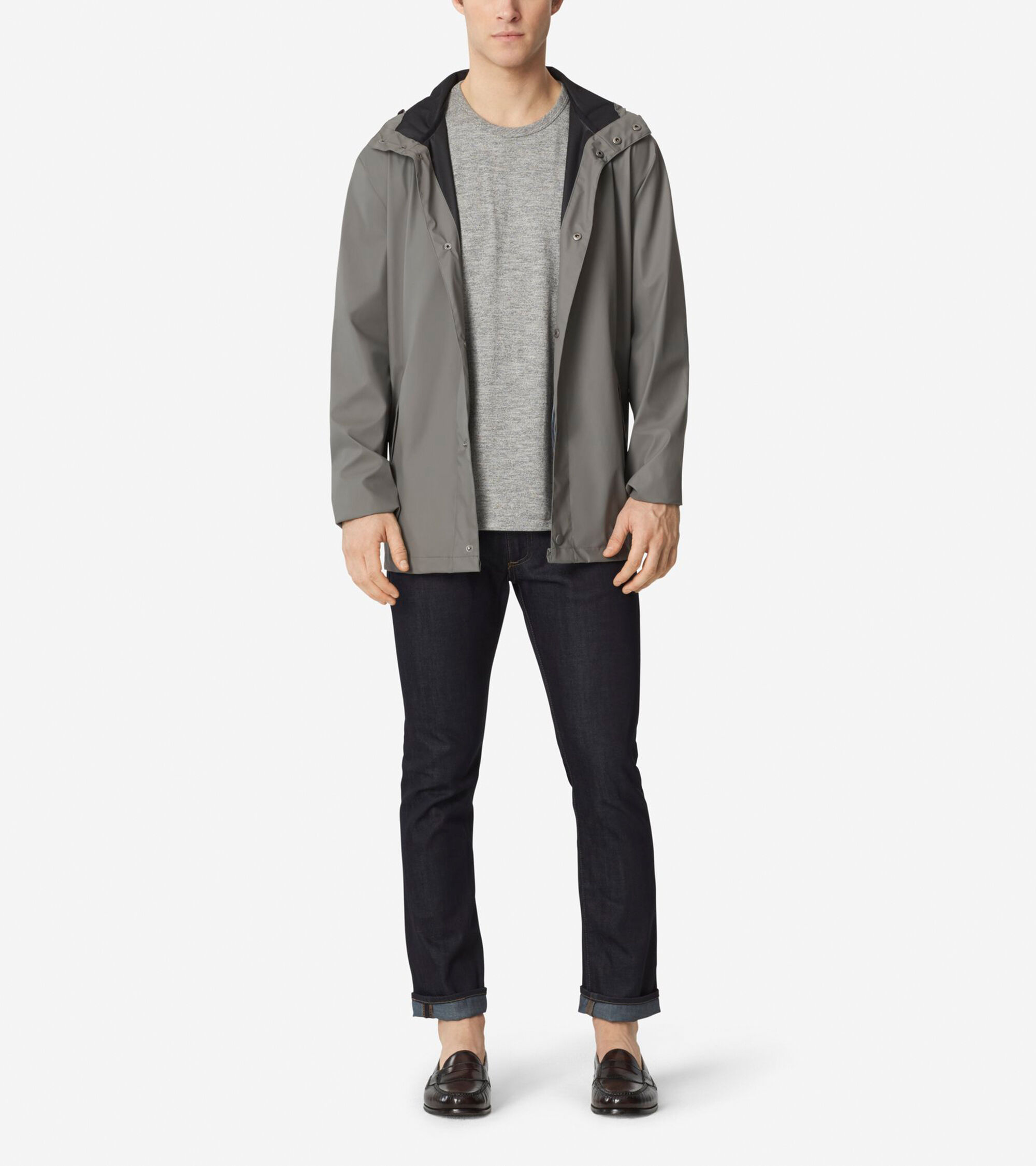 Cole Haan Mens Pinch Rain Jacket (Blue or Ironstone)