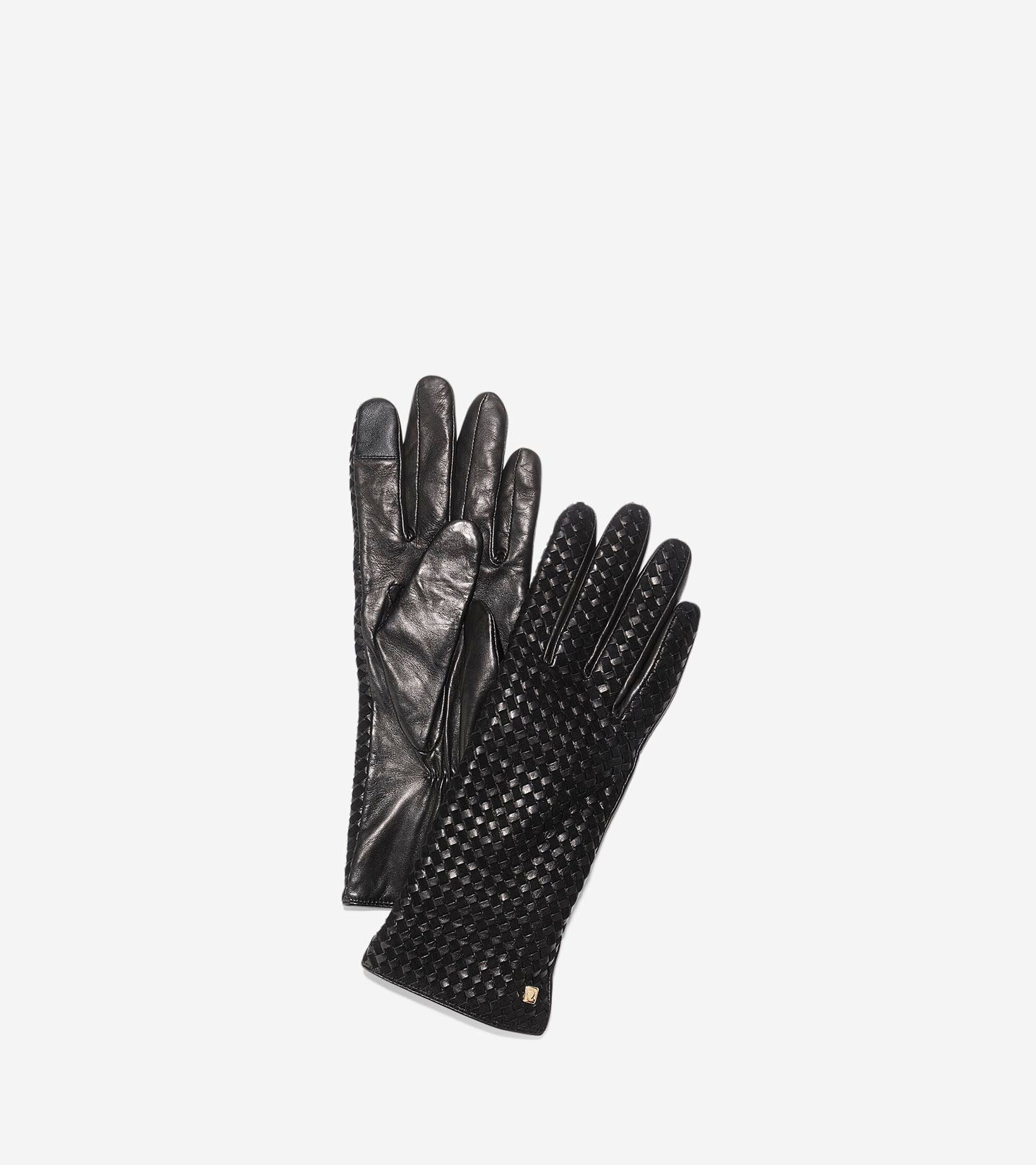 Cole haan black leather gloves - Braided Back Gloves