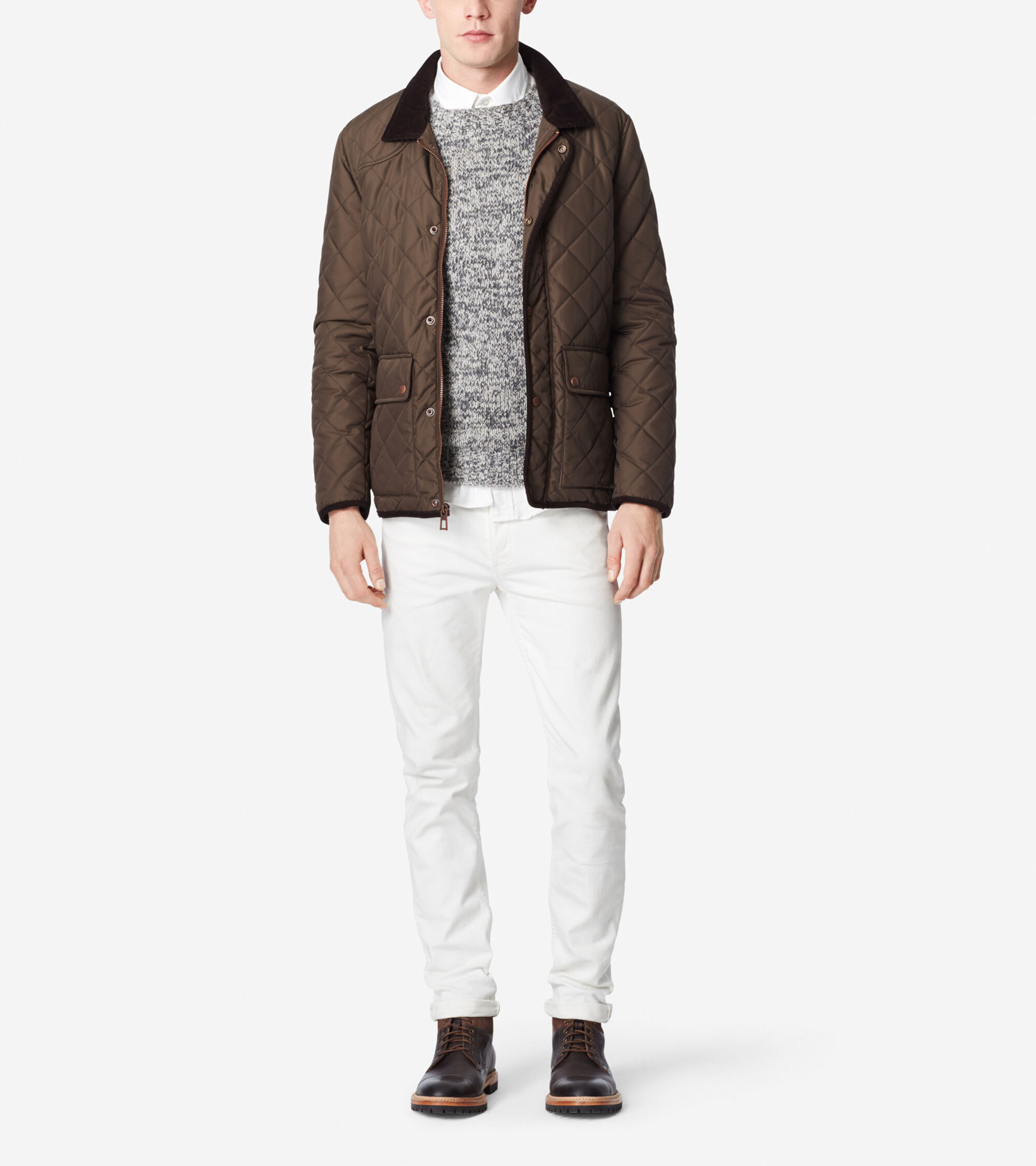 Outerwear > Quilted Nylon Jacket - Corduroy Accents