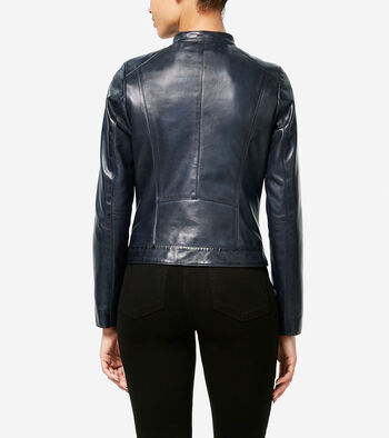Burnished Lambskin Racer Jacket