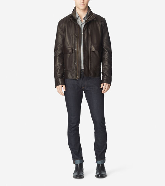 Outerwear > Leather Zip Front Jacket