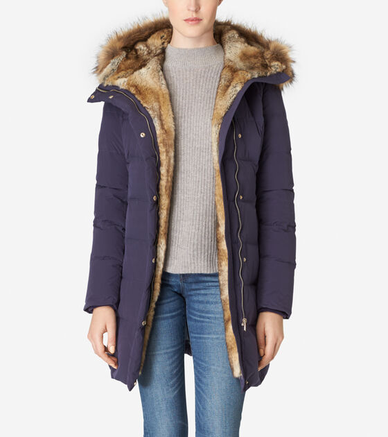 Outerwear > Hooded Assymetrical Down Coat