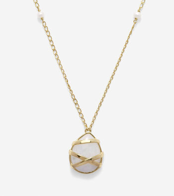 To The Moon Semi-Precious Wrapped Moonstone Pendant Necklace