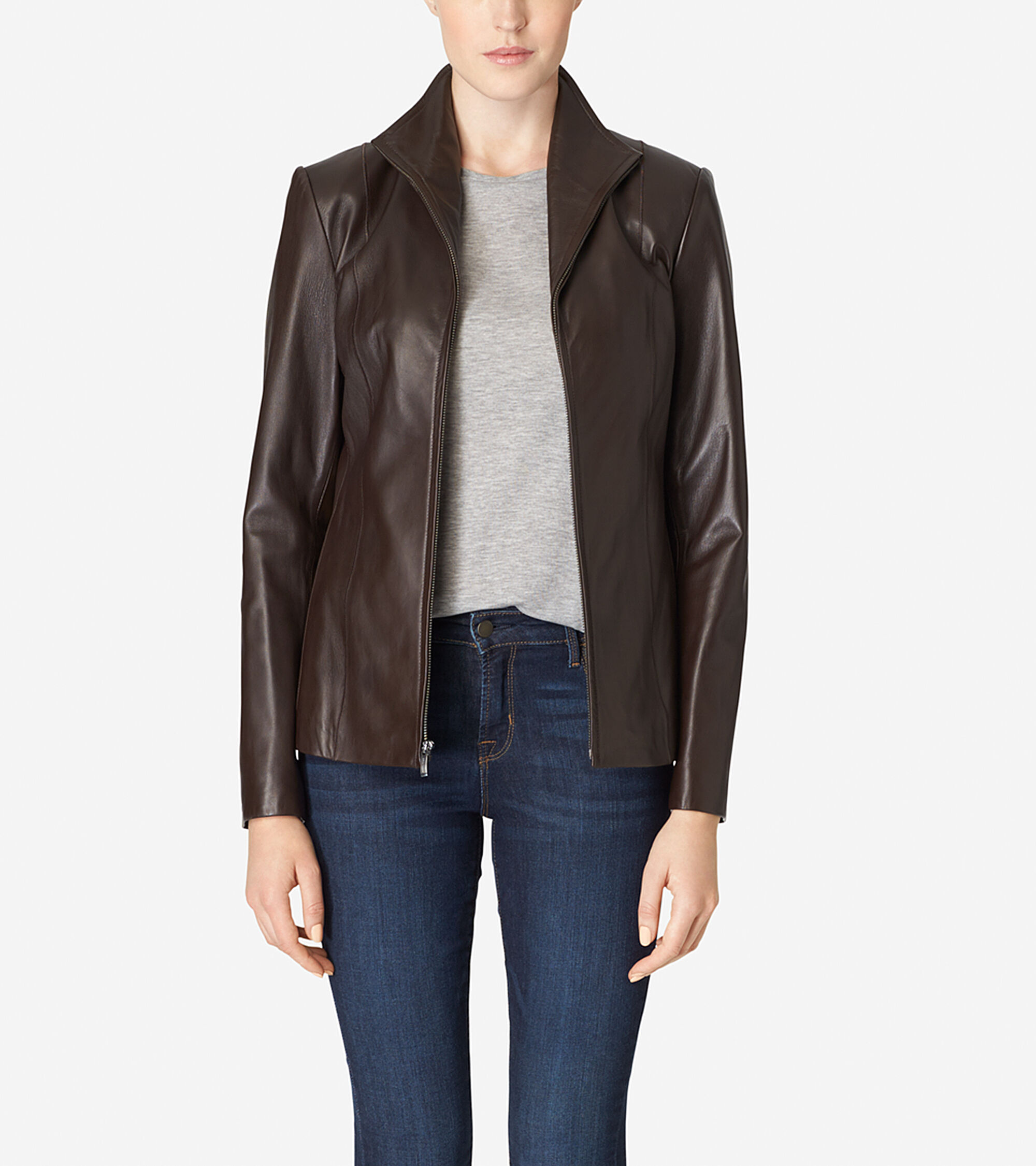 Outerwear > Italian Leather Wing Collar Jacket