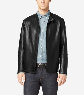 Raw Edge Bonded Leather Moto Jacket