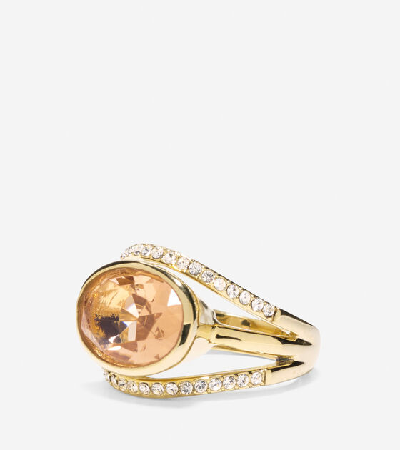 Bags & Outerwear > Cocktail Hour Oval Center Stone Pave Bar Ring