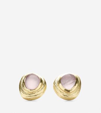 Metal Border Semi-Precious Stone Stud Earring