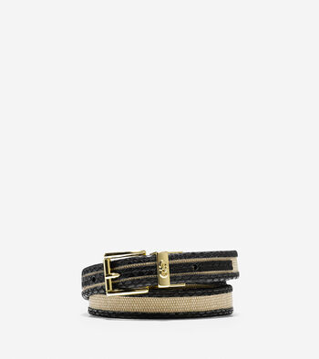Snake Print Trim Canvas Belt