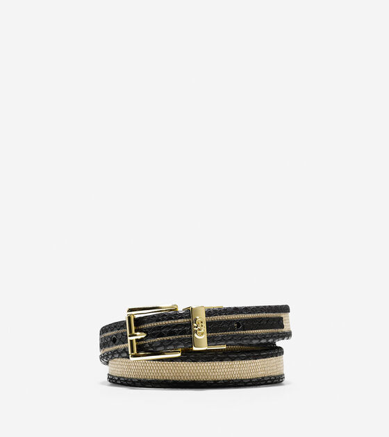 Accessories > Snake Print Trim Canvas Belt