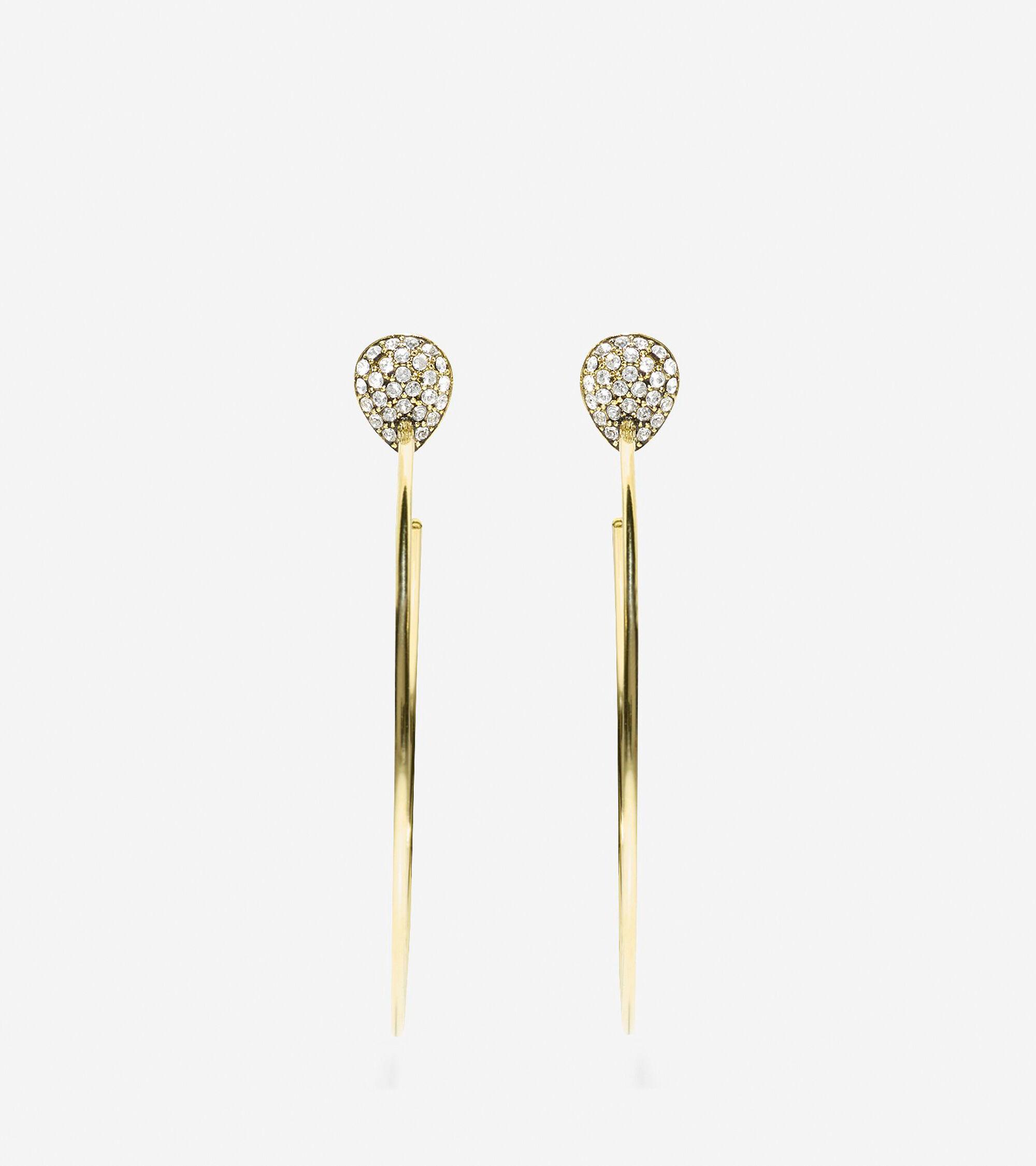 Jewelry > Waters Edge Swarovski Pave Teardrop C Hoop Earrings