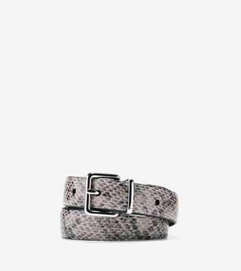 Reversible Snake Print-Leather Belt
