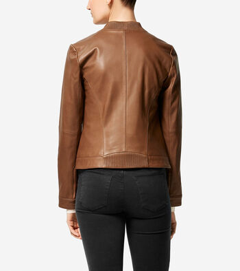 Smooth Lambskin Asymmetric Baseball Jacket