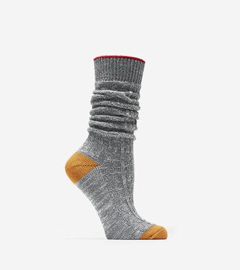 Slouch Slub Textured Crew Socks