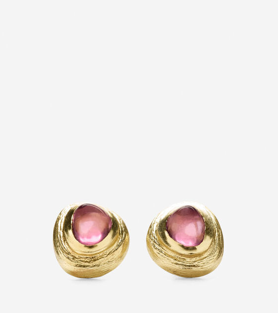 Accessories > Metal Border Semi-Precious Stone Stud Earring