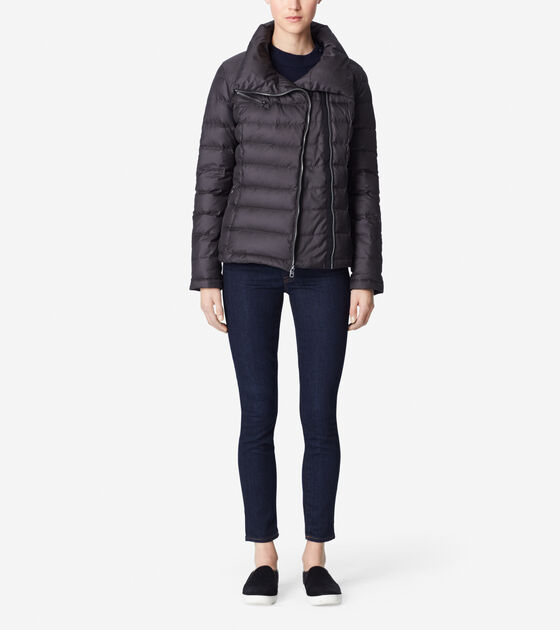 Outerwear > Packable Down Coat With Asymmetrical Front