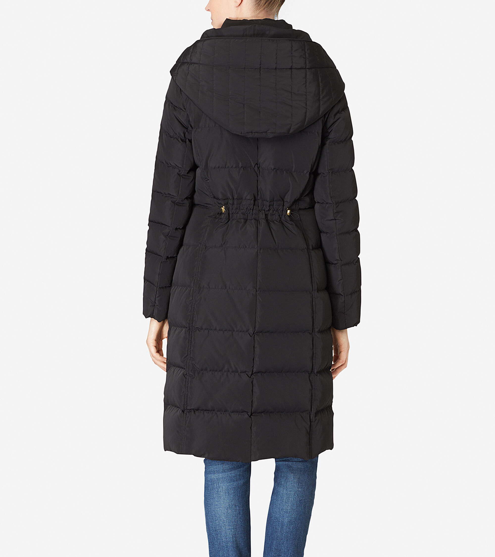 Women's Hooded Quilted Exposed Down Jacket in Black | Cole Haan : quilted down coats - Adamdwight.com