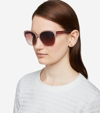 Metal Acetate Weave Butterfly Sunglasses