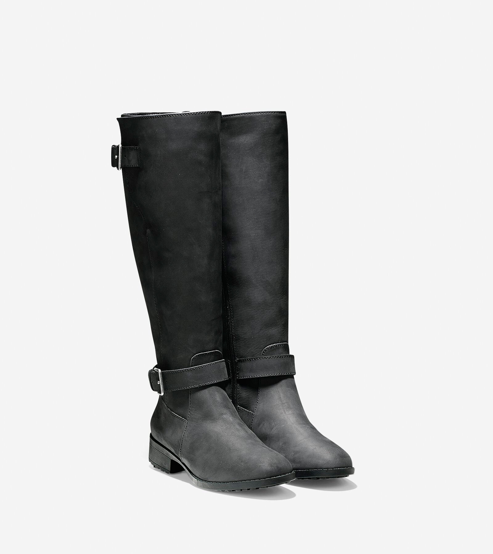Womens Boots Cole Haan Putnam Waterproof Boot Extended Calf Black Suede