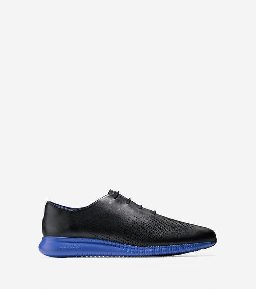 2 Zerogrand Laser Wingtip Oxfords In Black Blue Cole Haan