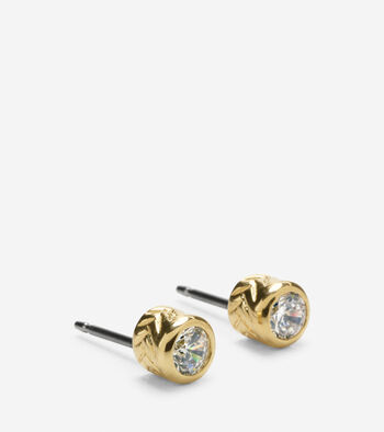 Basket Weave CZ Front Back Earring