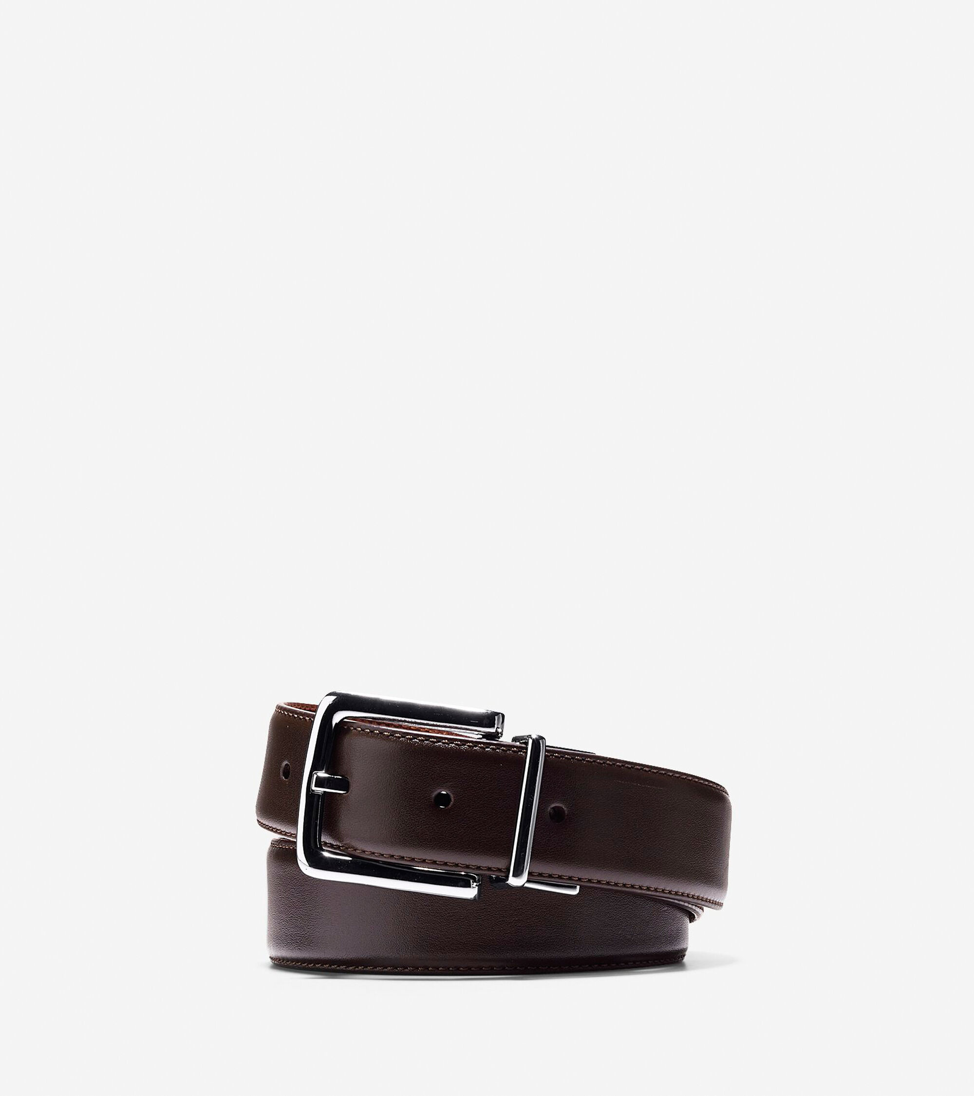 32mm reversible dress leather belt in chocolate