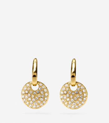 Gem Drops Fish Hook Round Charm Earrings