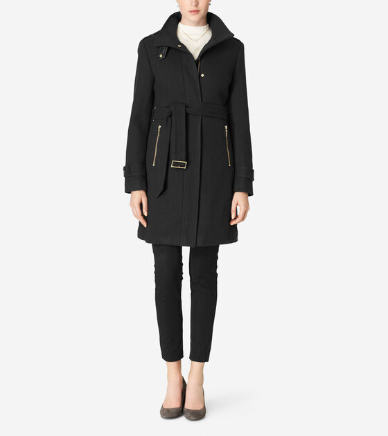 Outerwear > Funnel Collar Belted Coat