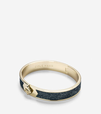 Thin Hinged Leather Inlay Bangle