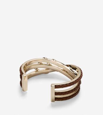 Chevron Metal & Leather Braided Cuff