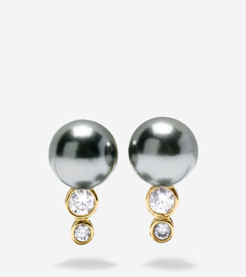 Starry Pearl Curved Stud Earrings