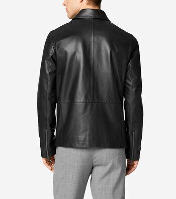 Smooth Matte Lamb Leather Shirt Collar Jacket