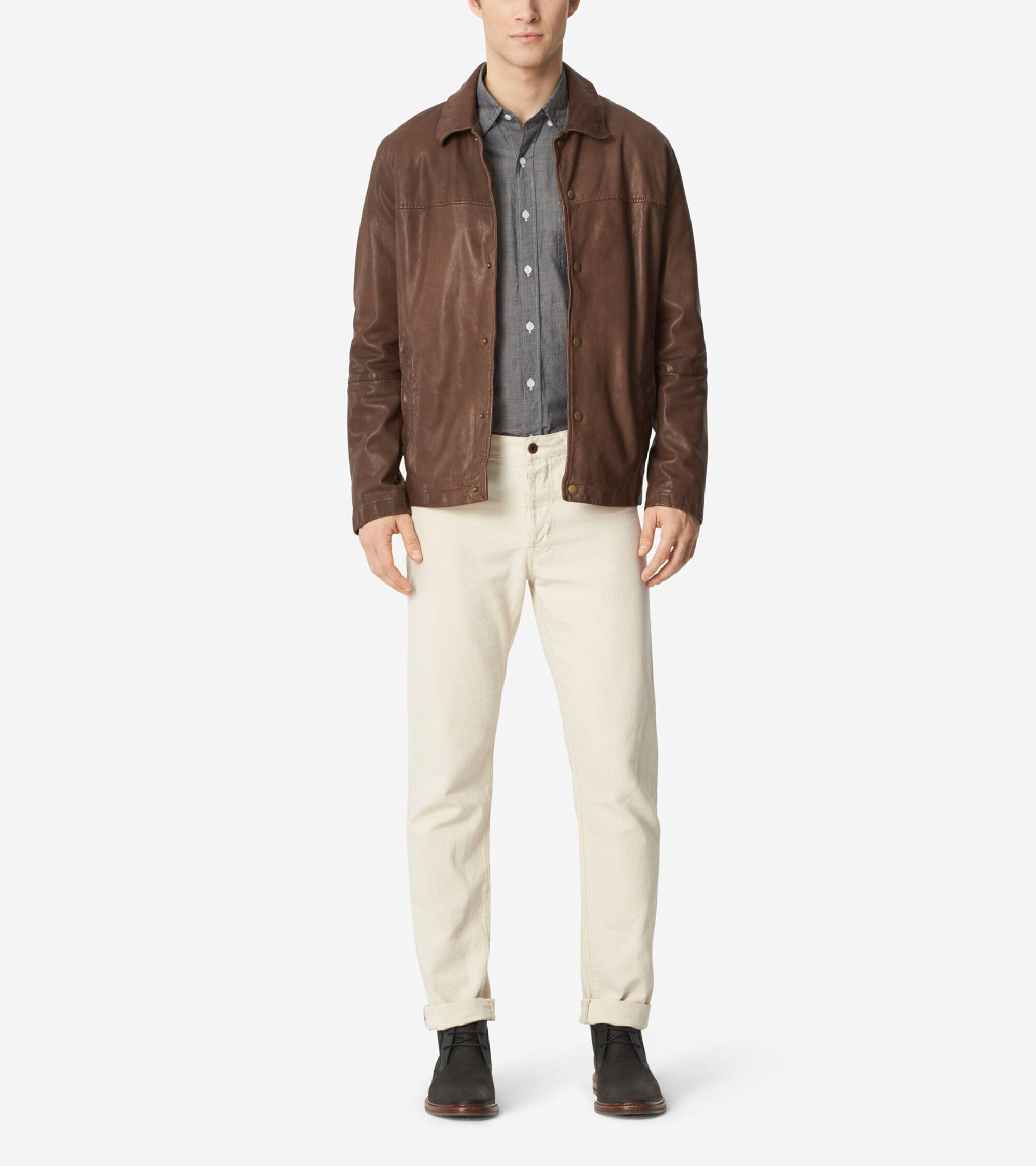 Outerwear > Washed Leather Shirt Jacket