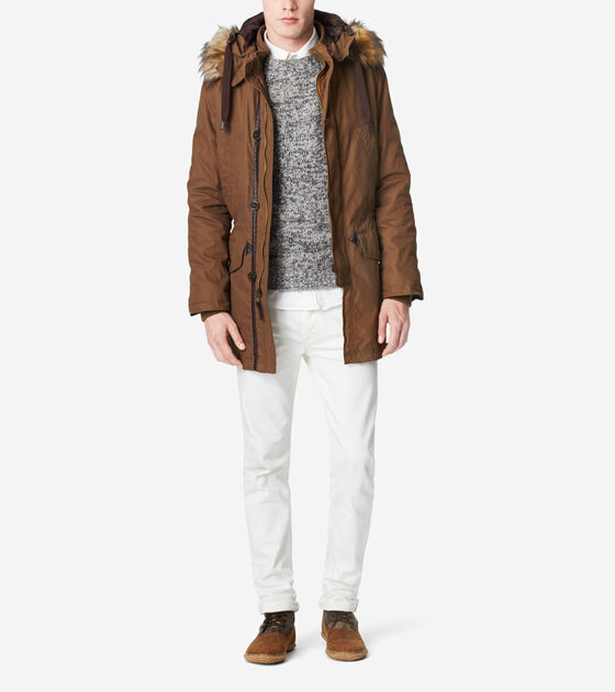 Outerwear > Brushed Twill Military Parka
