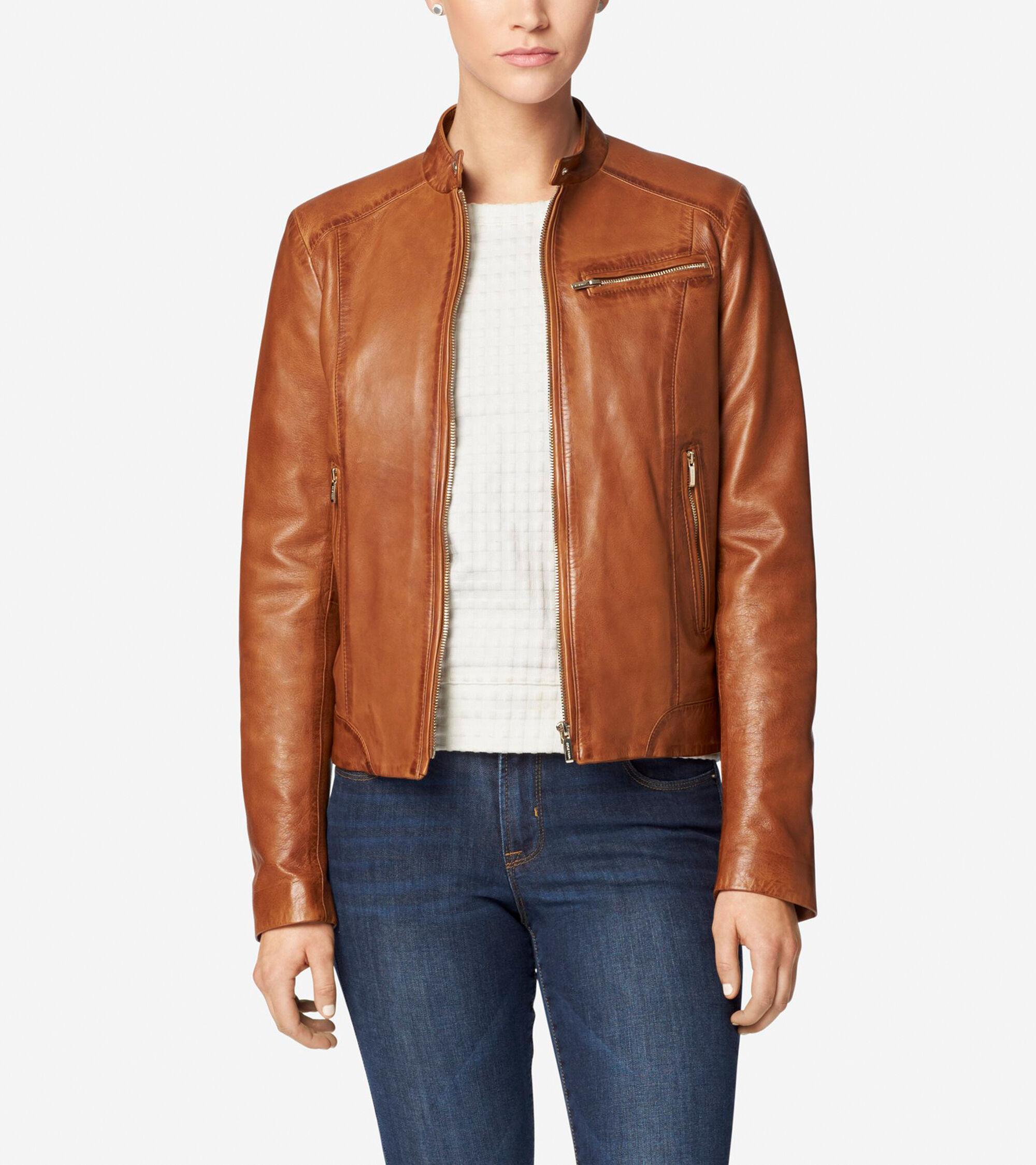 Classics > Burnished Lamb Leather Band-Collar Moto Jacket