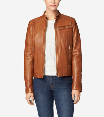Burnished Lamb Leather Band-Collar Moto Jacket