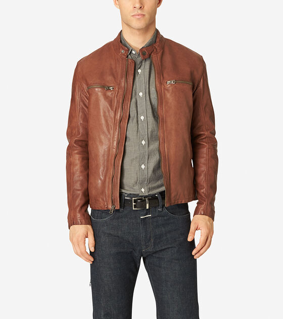 Accessories & Outerwear > Vintage Leather Moto Jacket