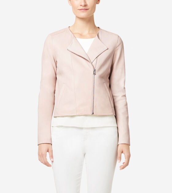 Outerwear > Italian Leather Asymmetrical Collarless Jacket