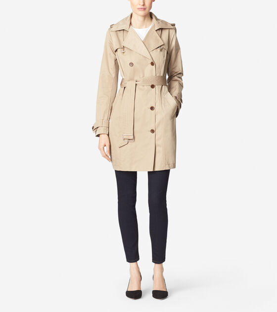 Outerwear > Gabardine Double Breasted Trench